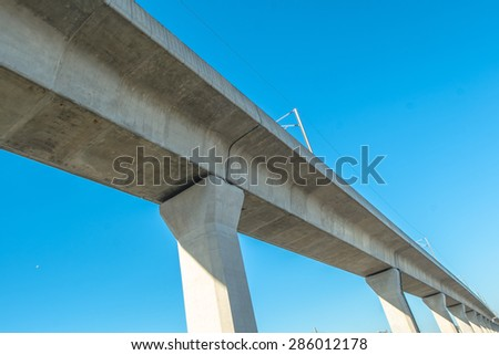 elevated sky train railway - stock photo