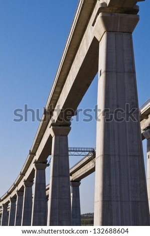 Elevated train bridge - stock photo