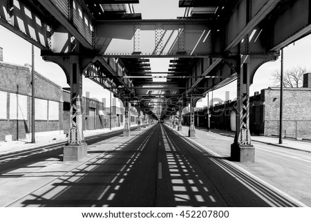 Elevated train tracks on the Green Line of Chicago, USA - stock photo