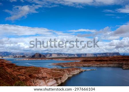 Elevated view Lake Powell in the Arizona Desert - stock photo