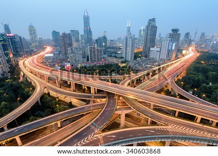 Elevated view of a Road Junction in Shanghai, China. - stock photo