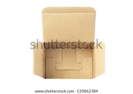 Elevated View of an Open Cardboard Box on White Background - stock photo