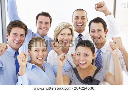 Elevated View Of Happy And Positive Business People - stock photo