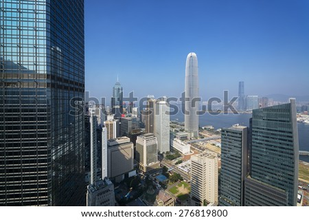 Elevated view of Hong Kong`s business district. - stock photo