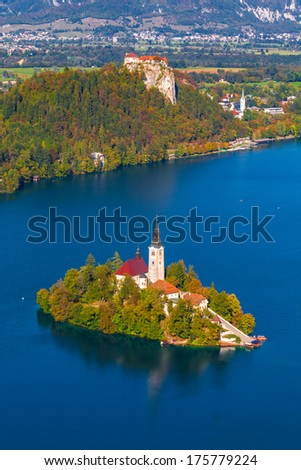 Elevated View of Lake Bled in Slovenia with Bled Island and Bled Castle - stock photo