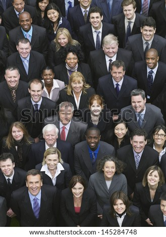 Elevated view of large group of multiethnic business people - stock photo