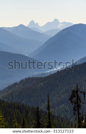 Elevated View of Mountain landscape of E C Manning Provincial Park, BC Canada