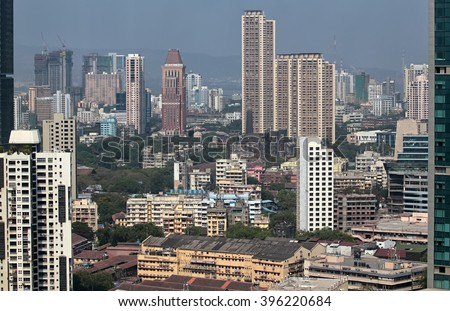 Elevated view of Mumbai India cityscape