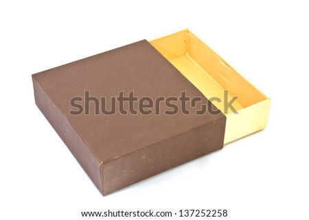 Elevated view of open empty gift box isolated - stock photo
