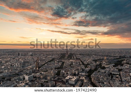 Elevated view of Paris at sunset - stock photo