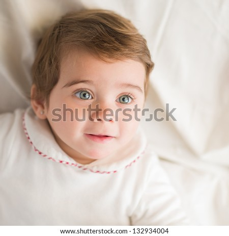 Elevated View Of Surprise Baby, Indoors - stock photo