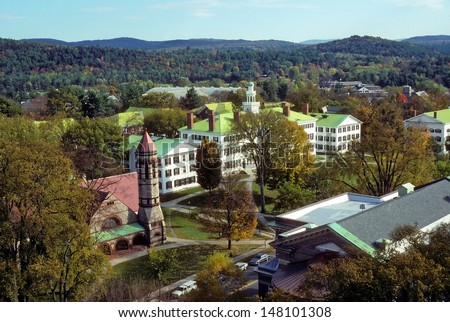 Elevated view of the campus at Dartmouth College, Hanover, New Hampshire showing dorms and church. Dartmouth is one of the top ten Ivy League colleges in the USA. - stock photo