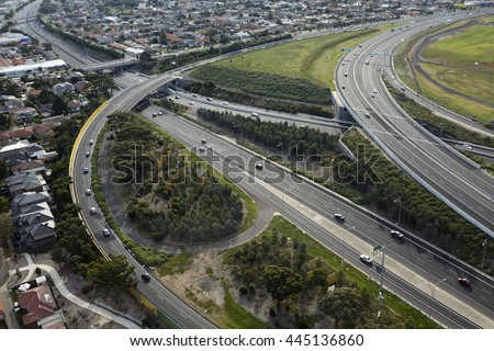 Elevated view of the M2 freeway in the Strathmore district of Melbourne - stock photo