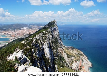 Elevated view of The Rock and Spanish coastline, Gibraltar, United Kingdom, Western Europe. - stock photo