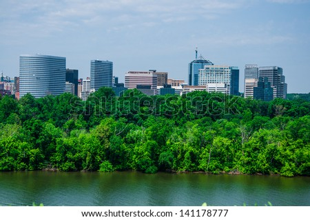 elevated view of Washington DC by the Potomac river. In the picture is Theodore Roosevelt island