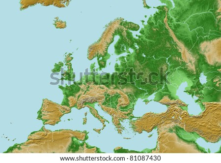 Elevations of Europe - map relief with national borders - stock photo