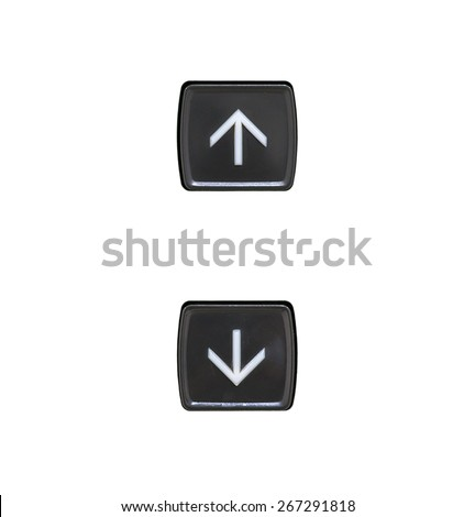 Elevator Button up and down direction on white background - stock photo