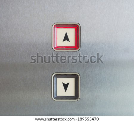 Elevator Button up and down direction with up red light - stock photo