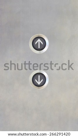 Elevator Button up down direction on stainless plate - stock photo
