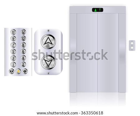 Elevator buttons. Lift panel. Elevator with with closed doors.  Illustration isolated on white background. Raster version - stock photo