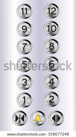 Elevator buttons. Lift panel.  Raster version isolated on white background. - stock photo