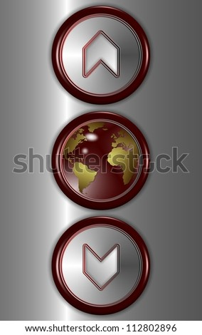 Elevator buttons showing up and down with earth globe in the middle / Elevator buttons and world