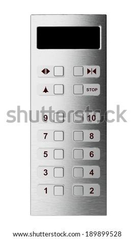 Elevator control panel isolated on white - stock photo