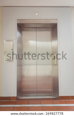 Elevator door in building