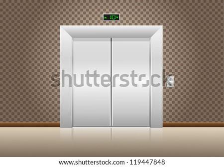 elevator doors closed illustration - stock photo