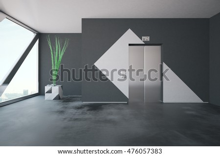 Elevator in concrete interior with patterned walls, decorative plant and window with city view and daylight. 3D Rendering