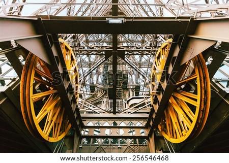 elevator mechanism of Eiffel tower  Paris, France - stock photo
