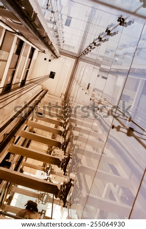 Elevator shaft, Madrid. Museum of Modern Art of the queen Sofia. - stock photo