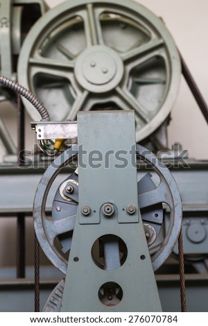Elevator shaft maintenance. cable control - stock photo