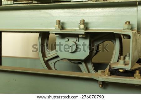 Elevator shaft maintenance. cable control - stock photo