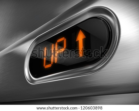 Elevator sign Up - stock photo