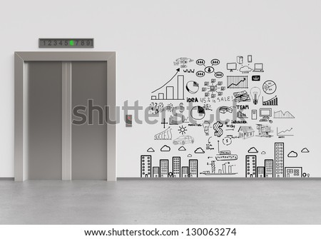elevator with closed doors and drawing business plan - stock photo