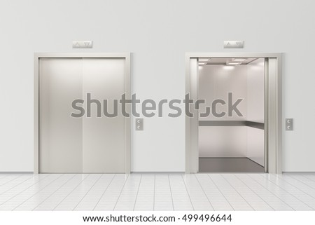 Elevator with closed doors and elevator with open doors in office lobby. 3d render