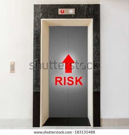 elevator with way to risk, business conceptual