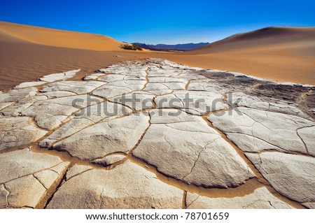 Eleven Meters under sea level on the Death Valley Sand Dunes, Death Valley National Park, California, USA - stock photo