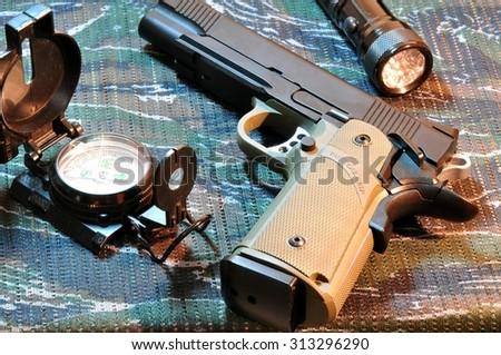 Eleven millimeter semi-automatic pistol. - stock photo