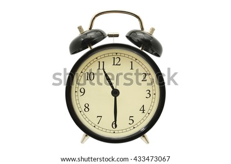 Eleven Thirty Black Alarm Clock isolated on white background