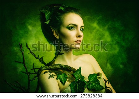 elf. Bean concept costume nature forest tree elf on green background with copyspace. - stock photo