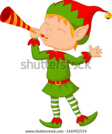 Elf cartoon blowing trumpet - stock photo