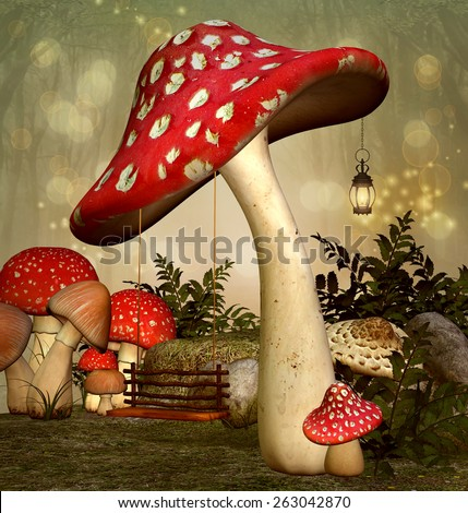 Elf fantasy garden - stock photo