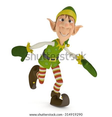 elf santa helper running for xmas - stock photo