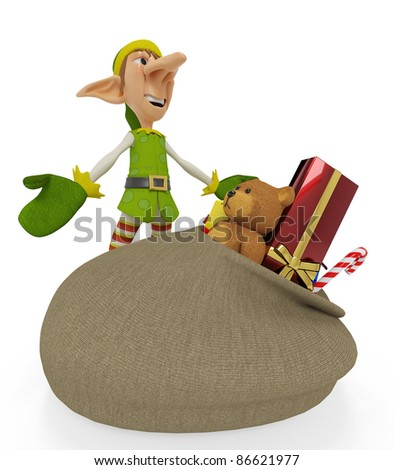 elf the santa helper cartoon in open arms whith a bag full of gifts - stock photo