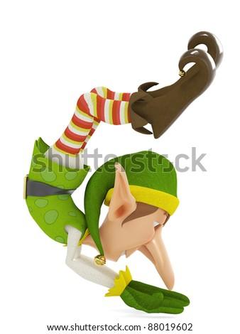 elf the santa helper up side down - stock photo