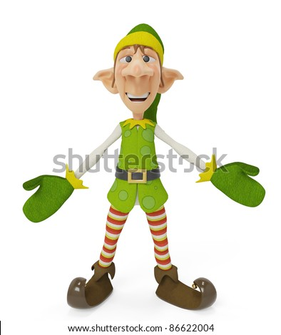 elf the santa helper wants a hug - stock photo