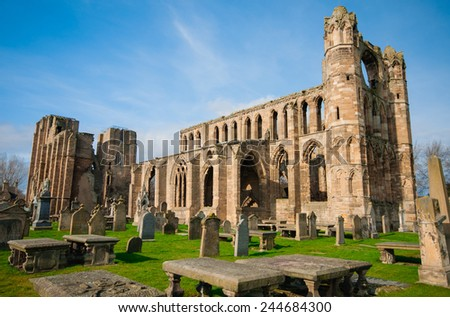 Elgin Cathedral, a medieval ruin in Scotland against the blue sky in the spring season. - stock photo