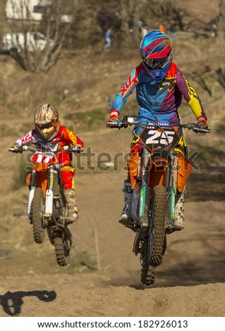 ELGIN, MORAY, SCOTLAND - 16 MARCH: This is a Motocross party within a race meeting of the Grampian Motocross Club Track, Scotland, United Kingdom. This event is open to public viewing.